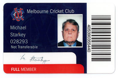 Melbourne Cricket Club membership card fraudulently used by Denis Manning Anderson, 2004-2013