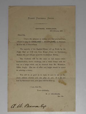 Letter from the Rugby Football Union to A.W Pearson confirming selection for England, 1877