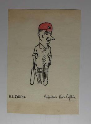 Hand-drawn caricature of Australian cricketer Herbert Collins, 1921