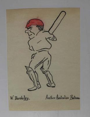 Hand-drawn caricature of Australian cricketer Warren Bardsley, 1921; Artwork; M16860.4
