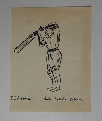 Hand-drawn caricature of Australian cricketer Thomas Andrews, 1921