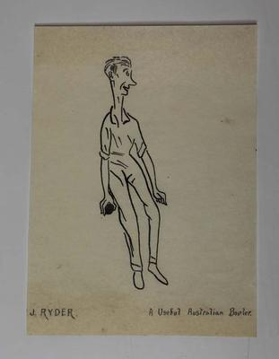 Hand-drawn caricature of Australian cricketer Jack Ryder, 1921