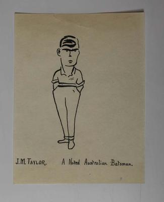 Hand-drawn caricature of Australian cricketer John Taylor, 1921
