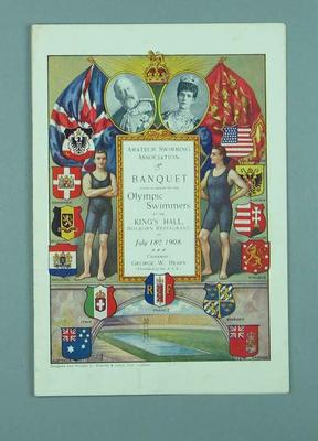 Menu and programme for a banquet honoring the swimmers participating at the 1908 London Olympic Games