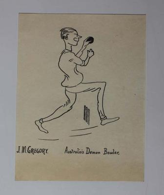 Hand-drawn caricature of Australian cricketer Jack Gregory, 1921