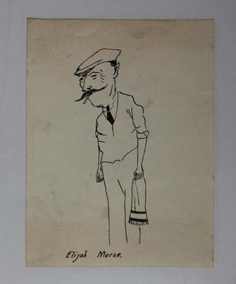 Hand-drawn caricature of Elijah Morse, c.1921