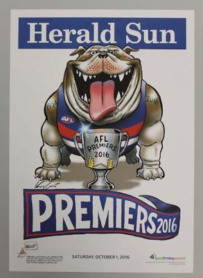 'Herald Sun' AFL Western Bulldogs Football Club Premiers poster, caricature by Mark Knight, 2016