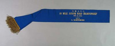 Sash, SMACC 10 Mile Junior Road Championship 1923