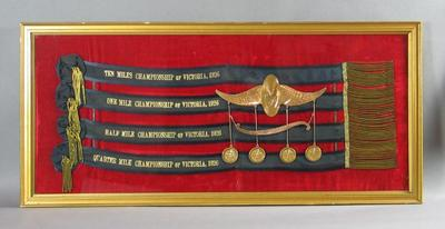 Framed Cycling sashes and medals  - All-Round Championship of Victoria 1926 - won by Eric Gibuad; Trophies and awards; Framed; 1988.1893.1