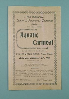 Flyer advertising Port Melbourne Ladies' and Gentlemens' Swimming Clubs Aquatic Carnival, 15 November 1913