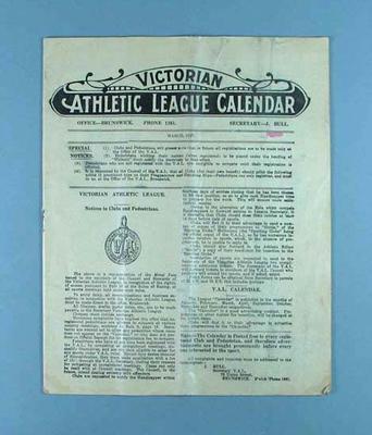 Victorian Athletic League Calendar, March 1927