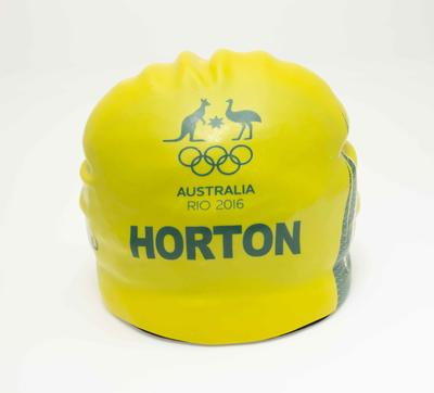 Swimming cap worn by Mack Horton, 400m freestyle final, Rio Olympic Games, 2016