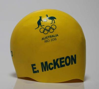 Swimming cap worn by Emma McKeon, 4 x 100m relay final,  Rio Olympic Games, 2016
