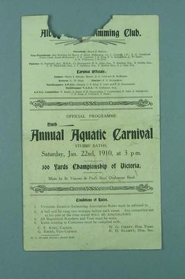 Programme for Albert Park Swimming Club Aquatic Carnival, 22 January 1910