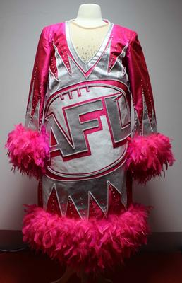 Pink and silver AFL-themed dress worn by Dame Edna Everage, AFL Grand Final, 2005