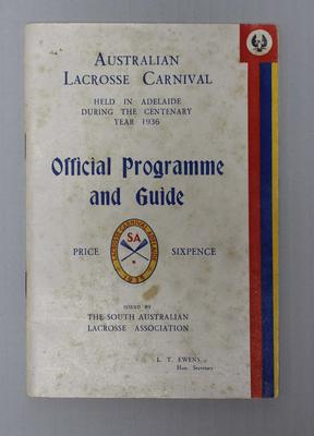Official Programme and Guide, Australian Lacrosse Carnival, 1936