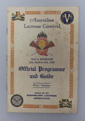 Official Programme and Guide, Australian Lacrosse Carnival, 1939