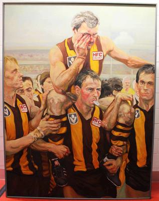 Painting, depicting Leigh Matthews after the 1985 VFL Grand Final, by Gary James, AKA Spook, 2001