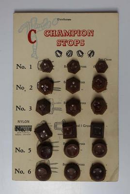 Selection of leather football stops with accompanying descriptive flyer, c. 1950s.