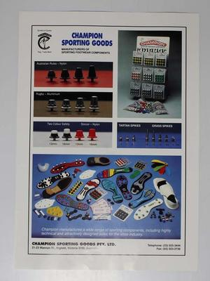 Advertising flyer for Champion Sporting Goods, c. 1980s