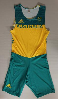 Rowing bodysuit worn by James McRae, men's quadruple sculls, Rio Olympic Games, 2016; Clothing or accessories; 2016.6.1