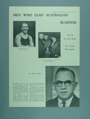 Biographical details of Frank Beaurepaire printed in Rydge's Business Journal, January 1951