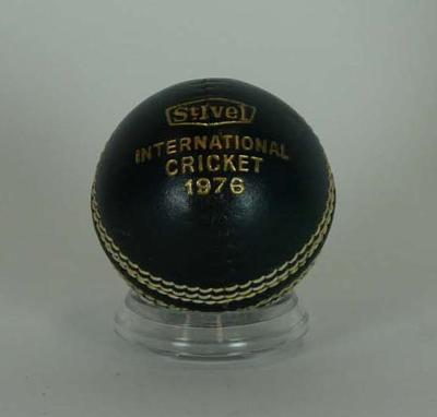 International Women's Cricket ball with embossed lettering,  1976