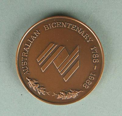 Shell Bicentennial Women's World Cup winner's medal presented to Sharon Tredrea, 1988