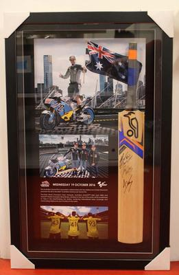Commemorative signed cricket bat presented to the Melbourne Cricket Club by the Australian Grand Prix Corporation, 2016