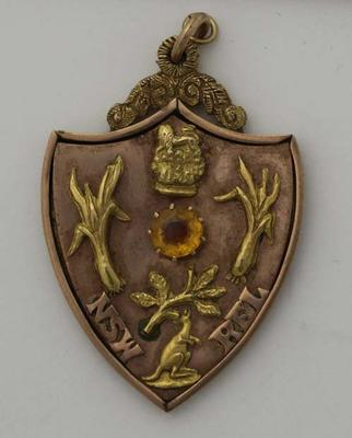 Rugby league medal presented to Albert Broomham, 1910.