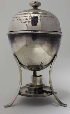 Egg warmer trophy presented to Albert Broomham, 1911.