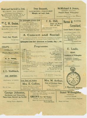 Programme for a concert and social in honour of Albert Broomham, August 1911.; Documents and books; Documents and books; N2017.6.8