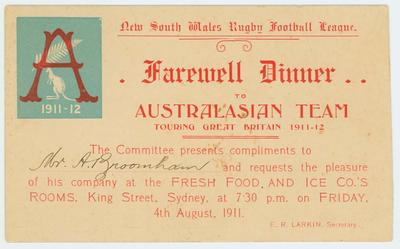 NSWRFL Farwell dinner invitation for Australasian Rugby League Team, 1911/12; Documents and books; N2017.6.13