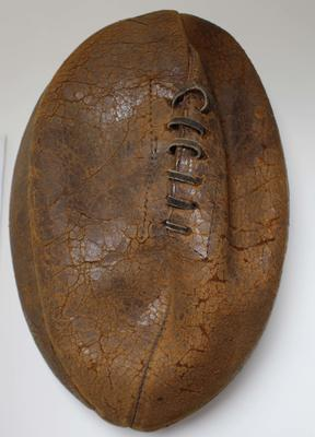 Match ball from Australasian Rugby League team 1911/12 tour of England; Sporting equipment; N2017.6.12