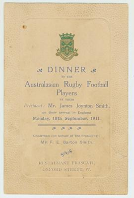Welcome dinner invitation for 1911/12 Australasian rugby team, September 1911.; Documents and books; N2017.6.16