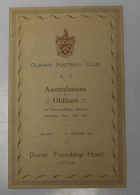 Oldham Football Club dinner invitation for the Australasian Team, 1911; Documents and books; N2017.6.17