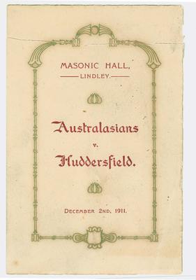 Card relating to Australasian vs Huddersfield, 1911