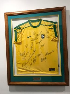 A framed Brazil soccer shirt, 1999