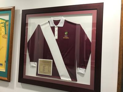 Framed commemorative cricket shirt for the 1868 Aboriginal cricket team.; Clothing or accessories; M16875
