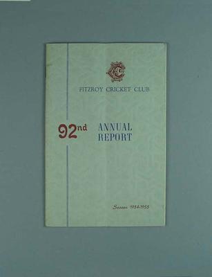 Annual report, Fitzroy Cricket Club - season 1954/55