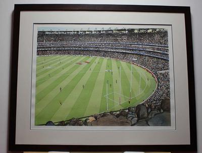 Framed watercolour painting by Simon Fieldhouse, 'MCG - AFL Grand Final', 2013