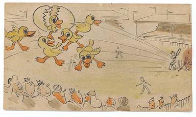 Hand drawn card addressed to Ian Johnson depicting a batsman hitting a flock of ducks, 1948.