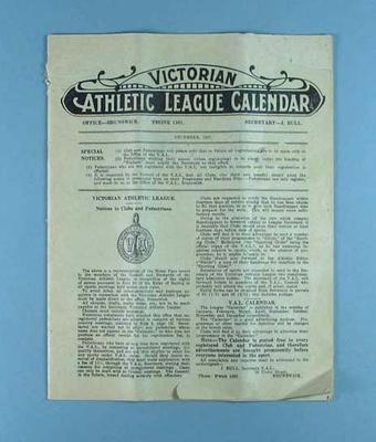 Victorian Athletic League Calendar, 1 Dec 1927