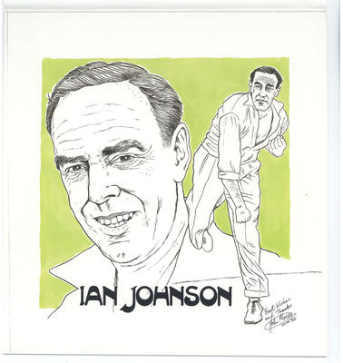 Caricature of Ian Johnson, 1982.