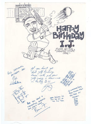 Birthday card given to Ian Johnson by Diamond Vision crew, circa 1980.