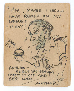 Original caricature sketch by Arthur Mailey, associated with Ian Johnson.