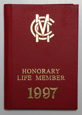 Marylebone Cricket Club Honorary Life Membership 1997, presented to Ian Johnson.