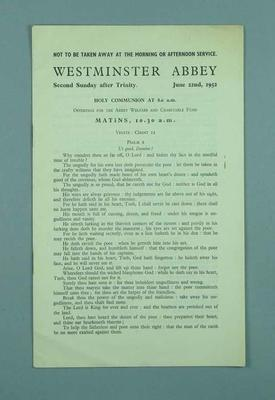 Programme for Second Sunday after Trinity service held at Westminster Abbey, 22 June 1952