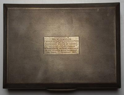 Cigarette case awarded to Ian Johnson for the 1948 Ashes Tour
