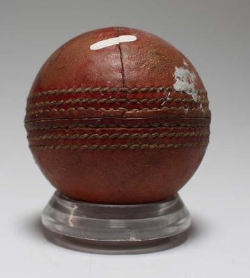 Cricket ball believed to have been used by Ian Johnson, date unknown.
